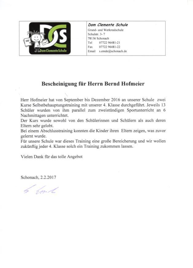 Bescheinigung für Bernd Hofmeier
